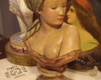 Bohemian Lady Portrait Bust Statue Vintage Nouveau Beauty Chalkware