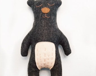 Grey felt stuffed animal bear