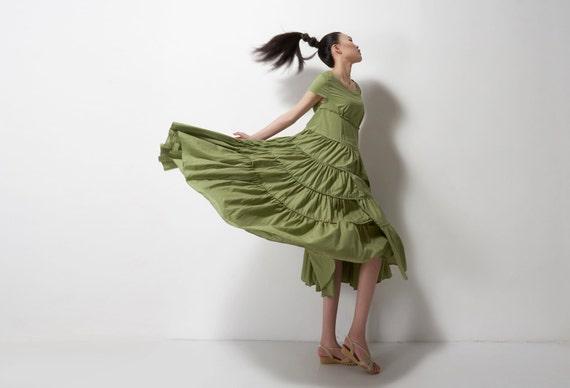 cotton  maxi dress --- green dress linen cotton maxi dress long dress vest dress