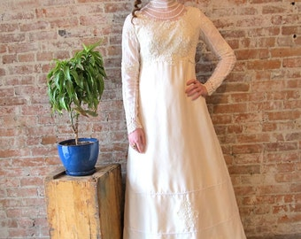 1960s Vintage  White Wedding Gown - Empire Waist - Train - Lace - Long Sleeve - High Neck - 60s