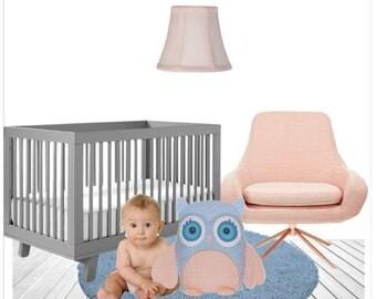 Handmade Owl, Owl Pillow,  Blue Owl Pillow Case,  Peach Nursery, Owl Cushion, Peach Aquamarine Baby Shower