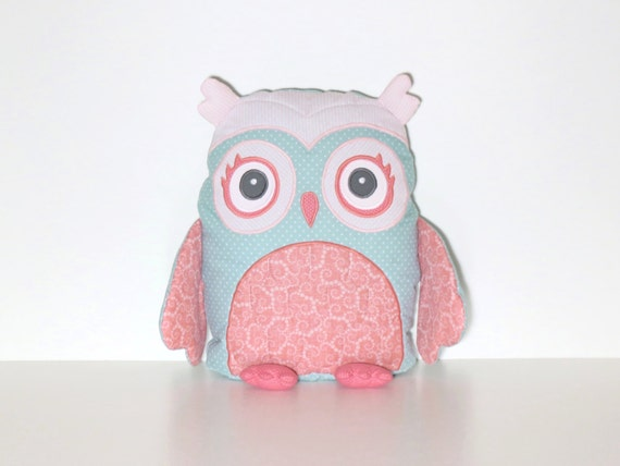 Custom Owl, Stuffed Owl Pillow, Coral Pink, Mint Green Custom Baby Pillow