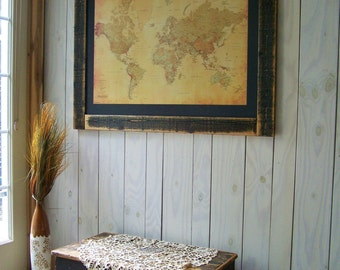 World Push Pin Map. Rustic Framed Push Pin World Map.