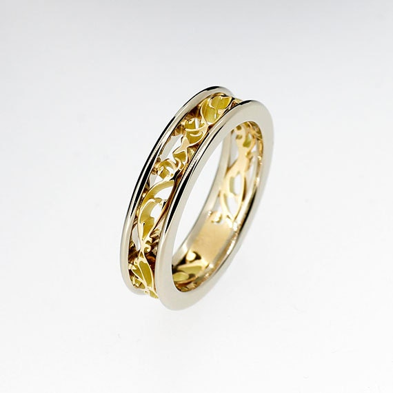 Platinum and yellow gold filigree ring two tone engagement