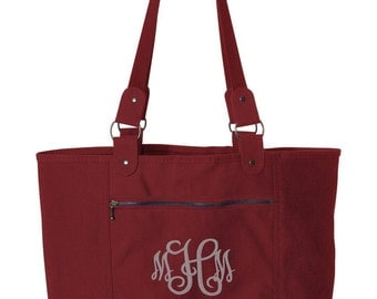 Cranberry Canvas Tote Bag - Monogrammed light weight canvas tote bag