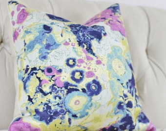Floral Pillow - Purple - Modern Lilac, Indigo Blue, Gold and Aqua Floral Designer Pillow Cover - Blue Pillow - Decorative Throw Pillow