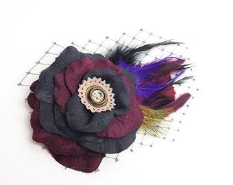 Black Wine Hair Clip Accessory Romantic Prom Rose Fascinator Feathers birdscage tulle Antique Button original unique hair clip