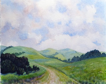 Landscape Painting, Watercolor Landscape, Rolling Hills, Green Hills, Briones Park, Northern California, Hiking, Trails, Nature Scene