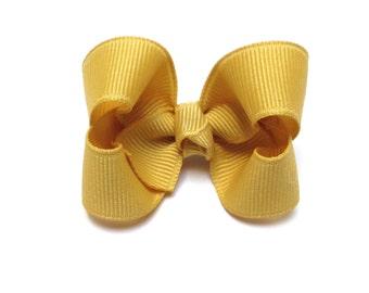 Lemonade Yellow, Baby Hair Bow, Toddler Hair Bows, Girl Hairbows, Barrette, Alligator clip, Snap clip, 200