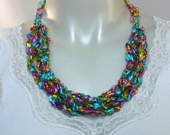 Rainbow Ladder Yarn Necklace, Crocheted Ribbon Necklace, 4-Way Necklace, Handmade Fiber Jewelry, Vegan Necklace, Ready to Ship