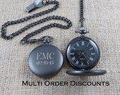 Personalized Gunmetal Pocket Watch, Monogrammed Pocket watch, Engraved Pocket Watch, Gifts for Men, Best man, Groomsman, Christmas (775)
