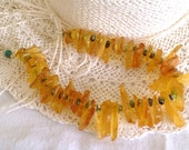 Amber Statement Necklace, Amber Slices, Natural Turquoise, .925 Sterling Silver Chain, Clasp
