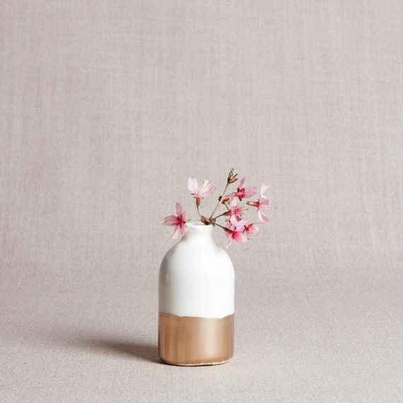 White + Gold Minimalist Bud Vase