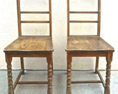 2Vintage Wood Chairs. Bride&Groom Vintage Wedding Photo Props. Distressed Shabby Chic Furniture. Small Space Seating