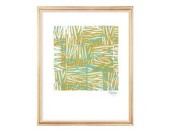 Beach House Decor, Beach Grass, 8x10 Seagrass Print, Beach House Art, Coastal Art, Block Print Art, Natural Coastal Decor, Natural Art