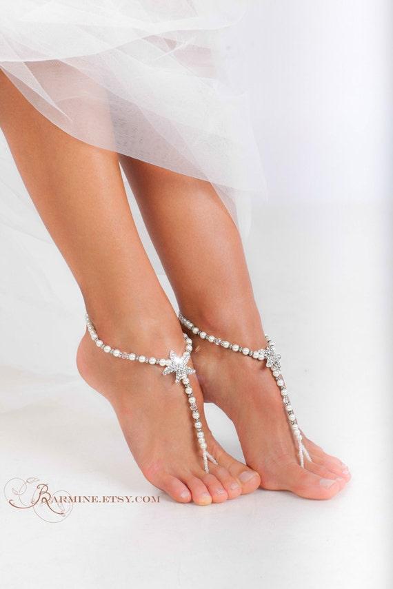 Rhinestone Starfish And Pearl Beaded Barefoot Sandals Bridal