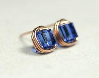 Rose Gold Sapphire Stud Earrings Blue Swarovski Crystal Earrings Wire Wrapped Jewelry Handmade Swarovski Crystal Jewelry Blue Stud Earrings