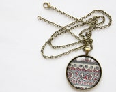SAMPLE SALE Pendant Necklace / Statement Jewelry / Long Bronze Chain / Gray and Pink Paisley / Made in Brooklyn / Small Gifts