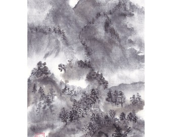 Misty Mountain Original Landscape Painting Chinese Brush Artwork Black and White