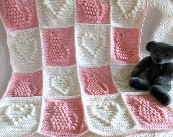 Crochet Baby Cats and Hearts Blanket / Afghan, Pink Baby Blanket - Crochet Pink / Ivory Kittens and Hearts