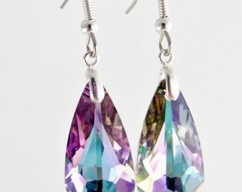 Purple Swarovski Drop earrings, Crystal Vitrail Light Purple Teardrop on Sterling Silver & surgical steel hooks, Purple teardrop earrings