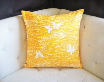 Tangerine Orange Butterfly Print 20x20 White Pillow Cover