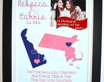 Custom birthday gift for friend, moving away gift friendship quote present, sisters gifts, 2 two locations, best friends forever art board