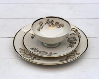 SALE Vintage German Teacup and Saucer Trio Set - Gold Apple Blossom Flowers on Cream