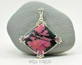 Wire Wrapped Pendant Large Statement Piece Rhodonite Pendant Black and Pink Stone Pendant Natural Stone Cabochon Pendant Handmade Wire Work