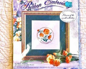 Marigold Flower, Silk Ribbon Embroidery Kit, Bucilla 40964, October Flower of Month, 8 x 8