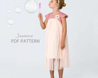 Childrens Sewing Pattern, Girls Sewing Pattern pdf, Girls Dress Pattern, Tutu Dress Pattern, Flower Girl Dress Pattern, Top Pattern JASMINE