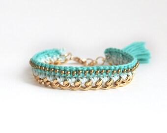 Mint bracelet, crochet bracelet with chunky chain, mint tassel bracelet with beads, boho bracelet