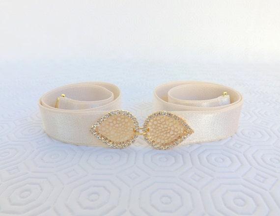 Ivory Elastic Waist Belt. Gold filigree rhinestone leaf buckle. Crystals buckle. Bridal/ Bridesmaid Waist belt. Wedding belt.