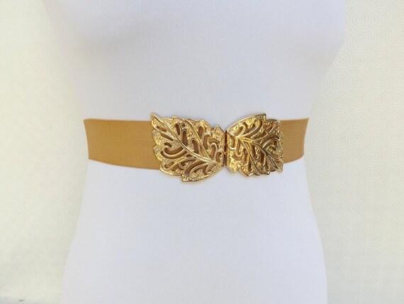 Gold Elastic Waist Belt. Gold filigree leaf buckle. Stretch belt. Bridal/ Bridesmaid gold belt. Elegant dress belt.