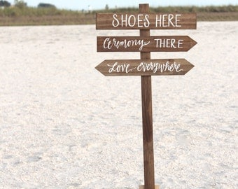 shoes here vows there love everywhere sign rustic wedding signs beach wedding signs