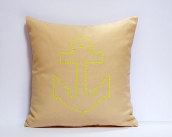 Hand Embroidered NeonAnker pillow 100% cotton canvas 40x40 RV