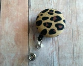 Leopard Print Badge Clip ID Holder, Leopard Print Cotton, Choice of Clip Styles, Made in USA, Retractable, Animal Print, Leopard Badge Reel