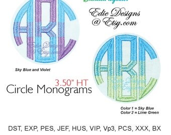 Circle Monograms 2 Color Blend Machine Embroidery Designs BX Format Monogram Fonts Digital Download