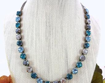 Swarovski crystal necklace, aqua, hematite, New Patina crystals, 8mm designer inspired crystal necklace