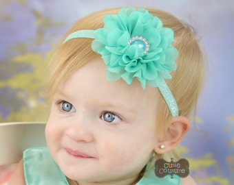 MORE COLORS-Glitter-Aqua-Boutique Style-Chiffon Flower Elastic Headband-Infant Headband Set-Newborn Headband-Baby Bands-Petal Flowers-Flower