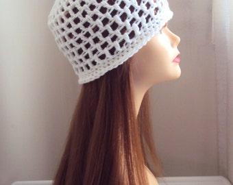 Crochet Hat  Beanie White Festival Hat Bridal Hat Women Men Hair Accessories Gift Ideas