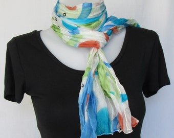 Silk scarf long crinkle hand painted - white, turquoise, blue, green, rust