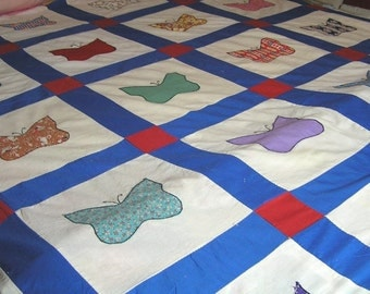 1940s Cotton, Hand Pieced Quilt Top with Applique Butterflies, Old Fabrics, Feed Sack, 67 x 81 Inches, Vintage Quilt Top, Vintage Fabric