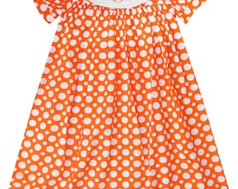 Girl's Monogrammed Dress in Orange with White Dots Perfect for Halloween or Thanksgiving