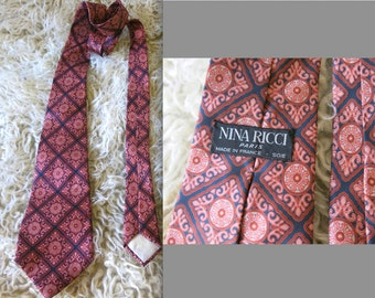 NINA RICCI 80s vtg silk tie romantic flower paisley baroque rose burgundy