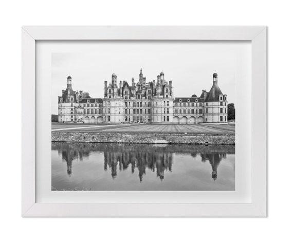 Château de Chambord Castle, Travel Photography, French Decor, Black & White Art Print, Nursery Wall Art and Decor, Original Signed Art