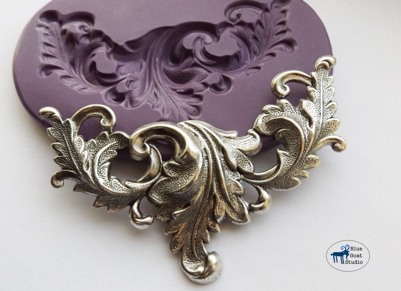 Large Art Nouveau Scrolling Leaves Mold Mould Victorian