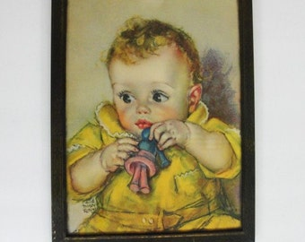 1940's Vintage Big Eyed Baby Girl by Maud Tousey Fangel. Vintage Framed Lithograph