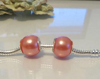 European Style Bead Charm for European Bracelet, 925 Silver Core, Wine