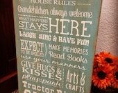Grand Parents Rules Custom Sign, Grandma's House Sign, MiMi & Paw Paw's House Rules, Personalized Rules Sign